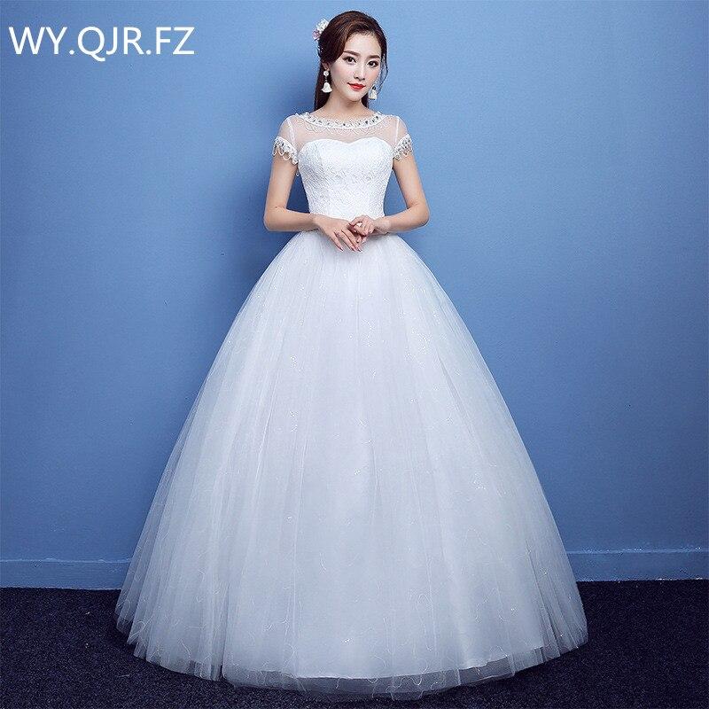 YC-B22#Ball Gown Autumn new 2019 O-Neck Bride's wedding dress white long Dresses slim lace up wholesale cheap women clothing
