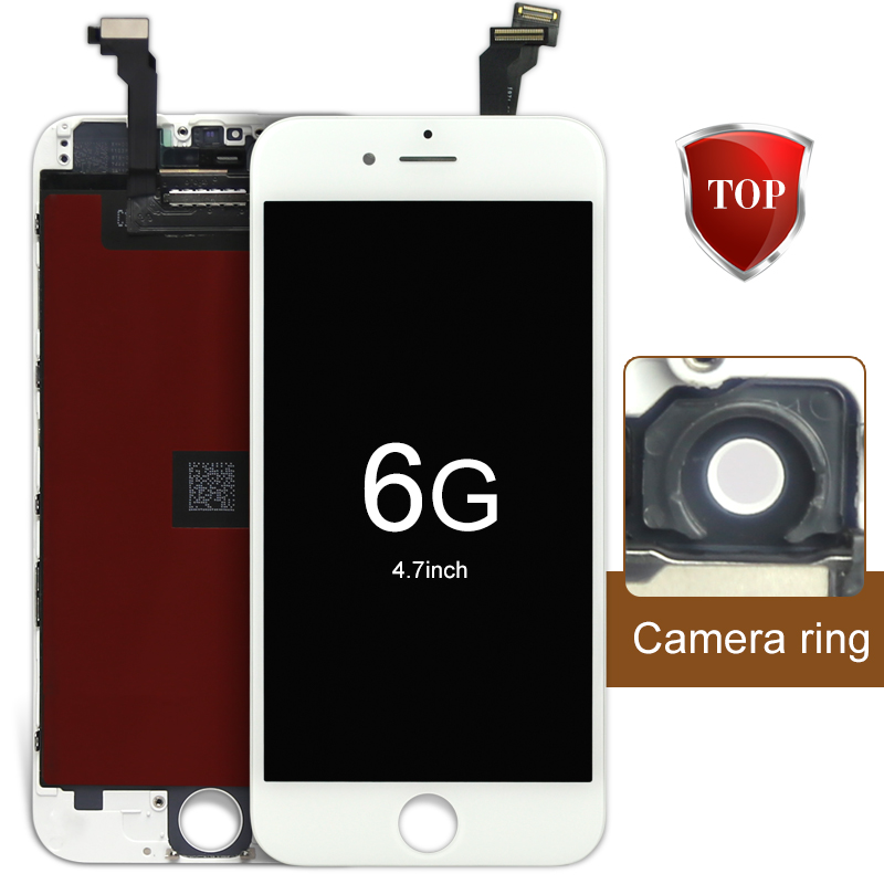 Prix pour 2 pcs pour iphone 6 lcd a + + + + écran tactile dans blanc 4.7 pouce affichage avec digitizer assemblée + caméra titulaire