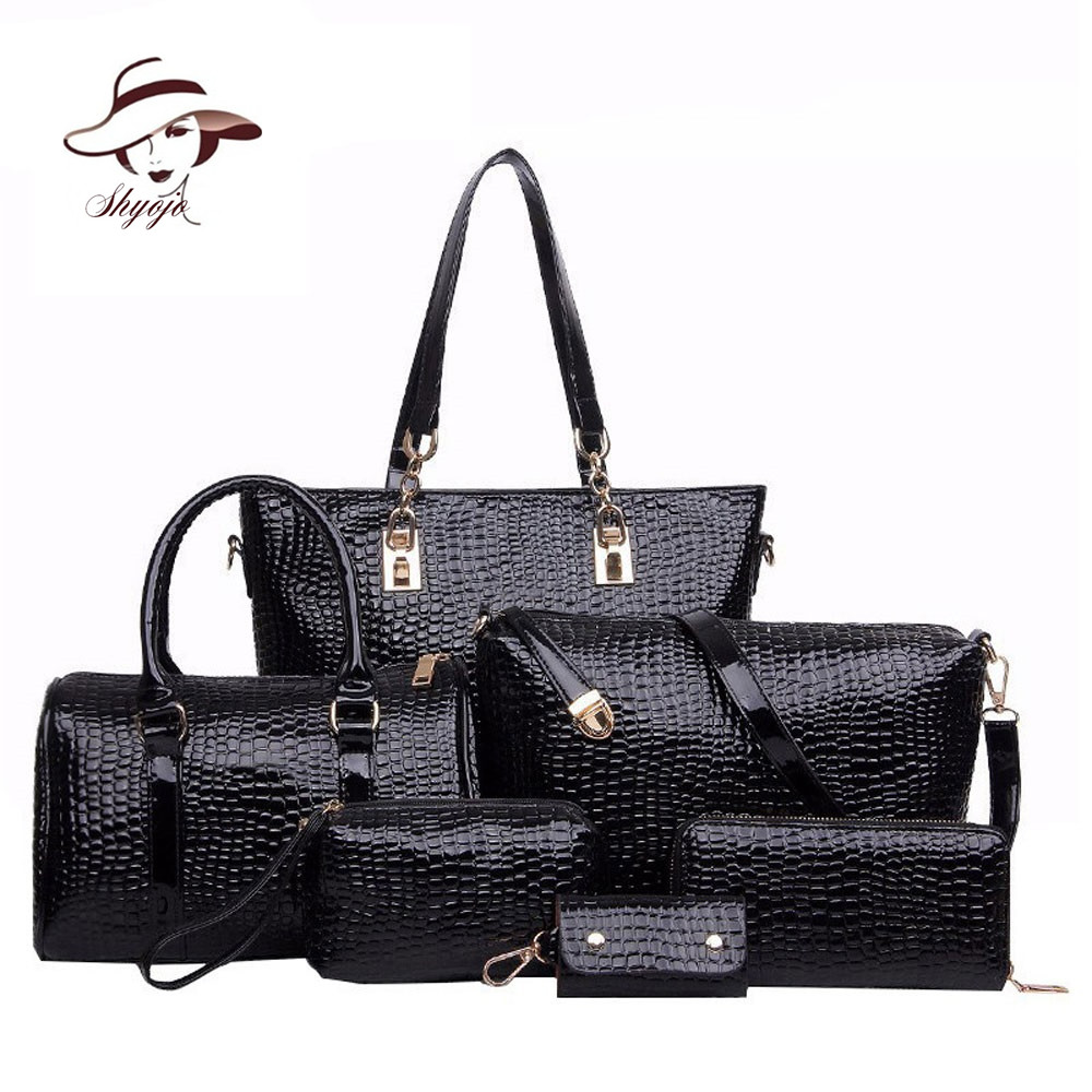 ad133e6ca68 6 Set Luxury New Fashion Brand Designer Crocodile Patent Leather Composite  Bag Handbag+Shoulder Messenger Bag+Clutche Purse Tote
