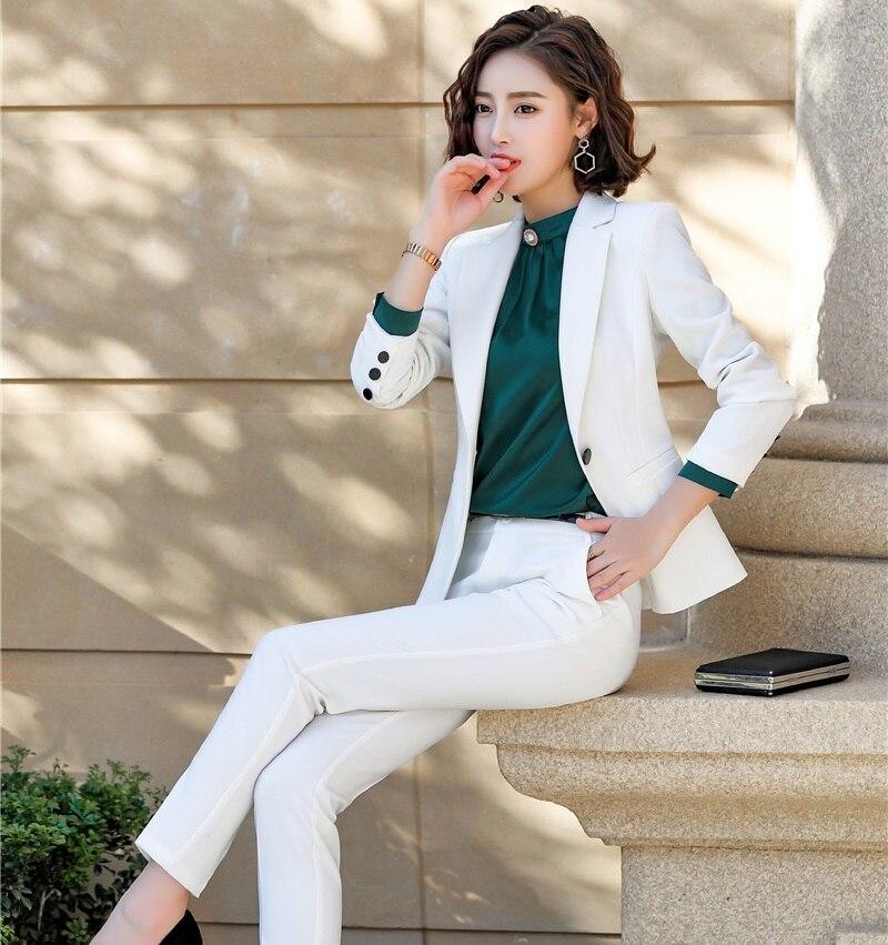 30eb613acae07 Femmes pantalons Work Pour Wear Mode Crayon Tailleurs Dames Manteau  Pantalon black Blanc Avec Blazers White Bureau Costumes Et Pantalons Vestes  ...