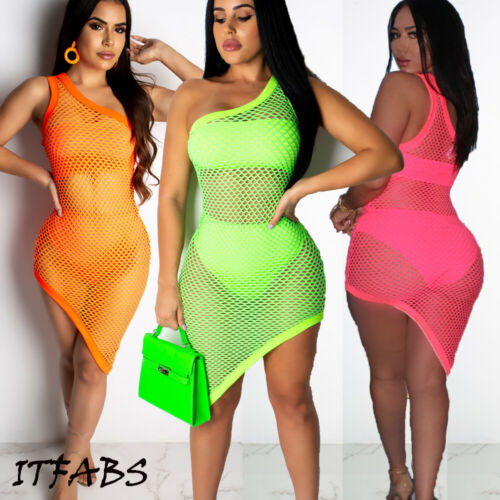 Sexy Women One Shoulder Fish Net Hollow Out Dress Beach Cover-Ups Summer Female Bikini Cover Up Mini Dresses Clothing