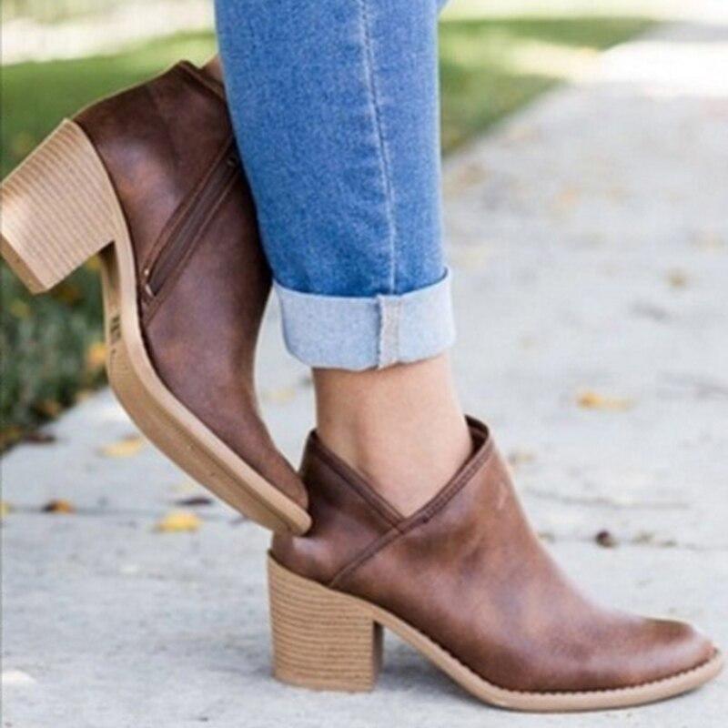 Tacón khaki Mujer Femenina Bloque Botas Retro gris 302 H 2018 Las Marrón Otoño De Mujeres Casuales Tacones Zapatos Alto Chic En Botines wvfpCqv0