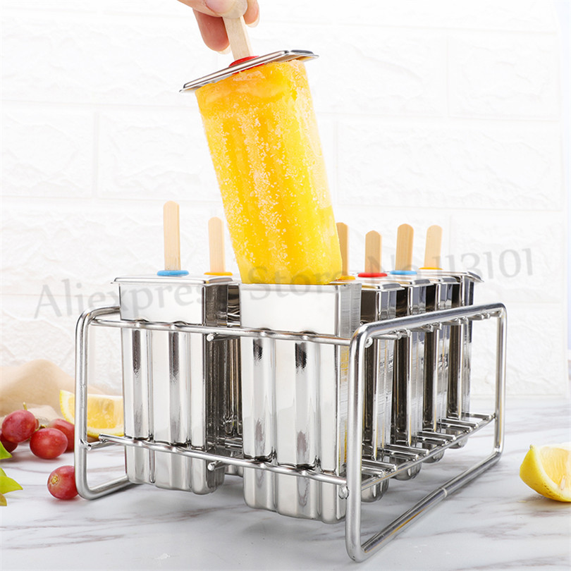 Popsicle Molds Ice Cream Mold Maker Kitchen DIY Stainless Steel Ice Cream Tools 10pcs/Batch frozen stainless steel popsicle molds 10pcs batch stick holder silver home diy round flat ice cream moulds