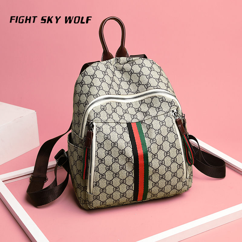 Small Women Backpacks female School Bags For Teenage Girls Black PU Leather Women Backpack Shoulder Bag Purse FIGHT SKY WOLF
