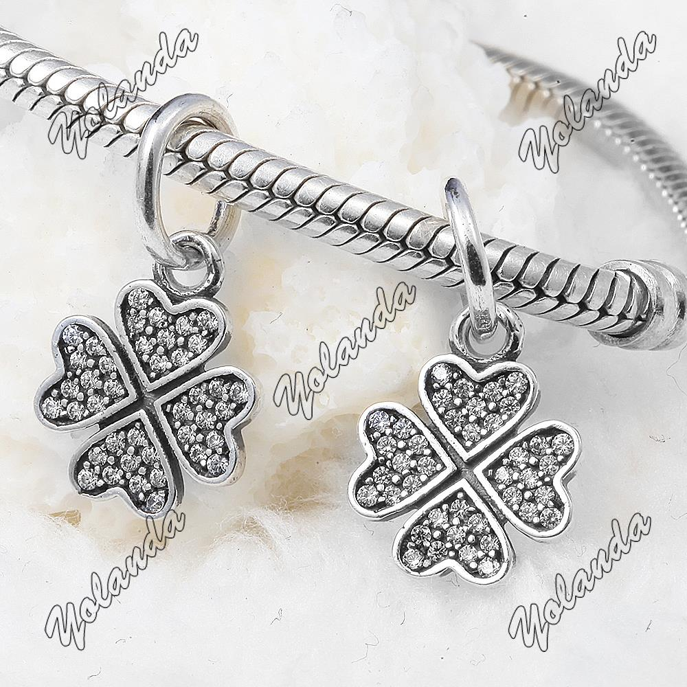 Clover Silver Dangle With Cubic Zircona