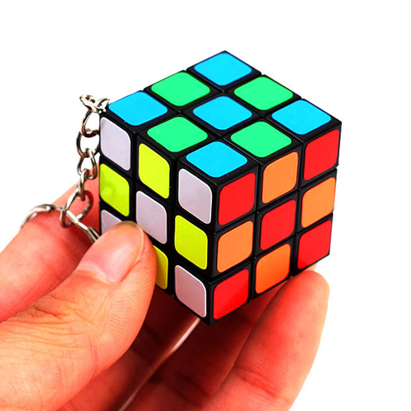 Mini 3x3x3 3.0CM Speed Magic Cube With Keychain Puzzle Neo Cubo Magico Sticker Toys For Children Adult Education Toy