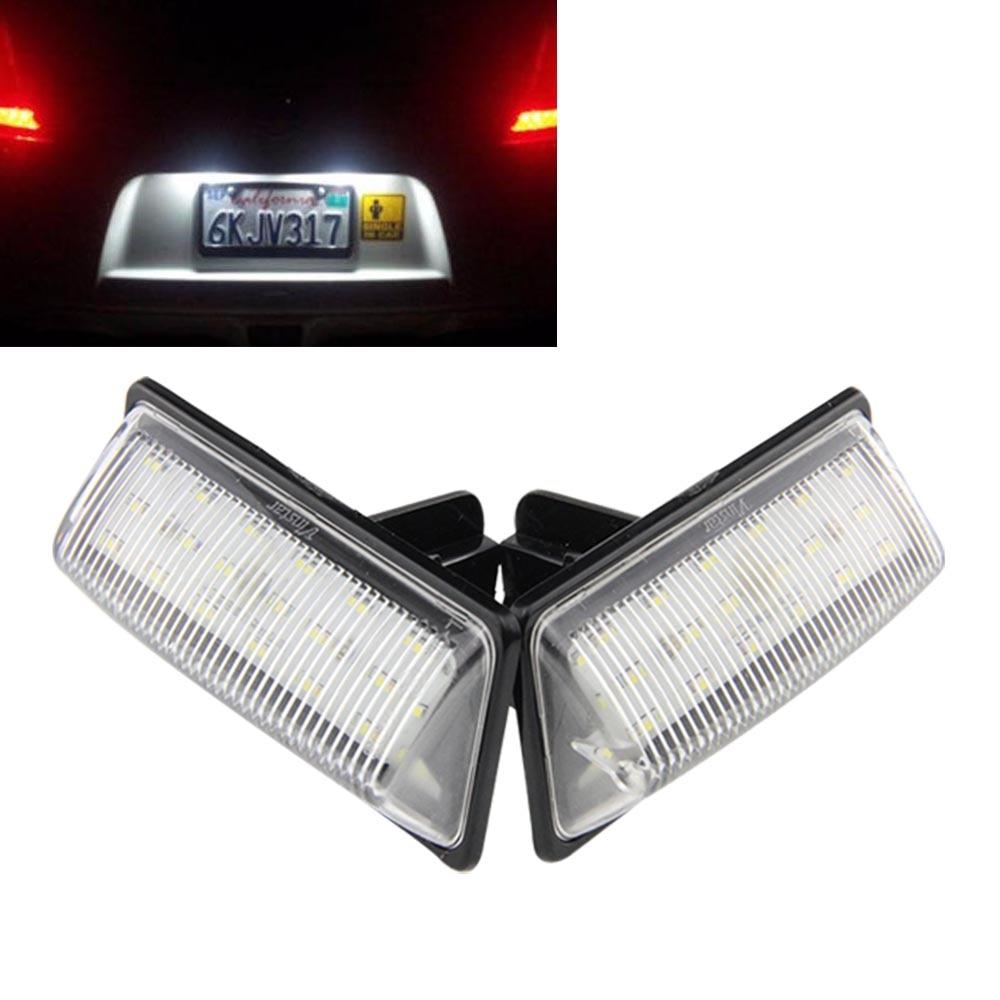 OEM Replacement Xenon White LED License Plate Light Assemblies For Nissan Altima Pathfinder Murano Maxima Sentra Infiniti JX35  2pcs white led license plate light lamps for nissan 350z 370z gtr infiniti g37 g35