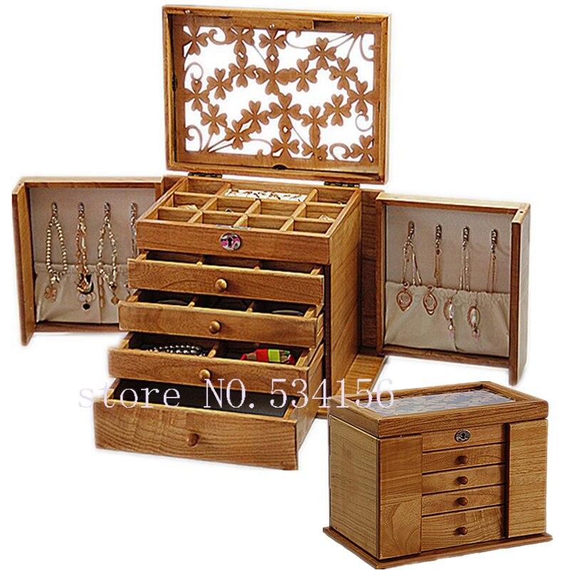 De luxe de mode En Bois princesse énorme super bijoux accessoires de stockage organisateur box case coffret de mariage Mère d'anniversaire cadeau