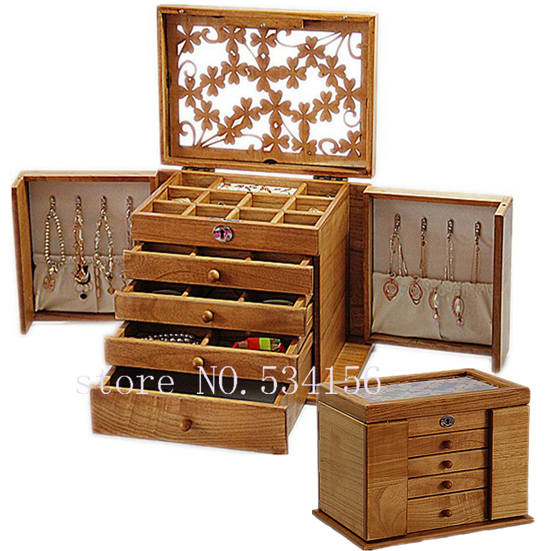 Di lusso di modo di Legno principessa enorme super accessori dei monili dell'organizzatore di immagazzinaggio della cassa della scatola scrigno wedding Madre regalo di compleanno