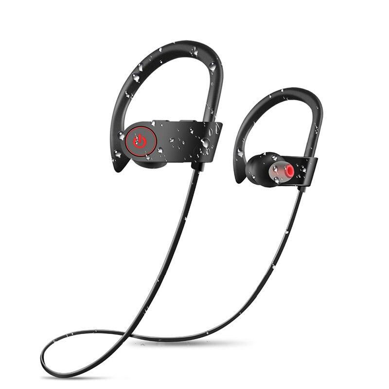 BR08 Sans Fil Bluetooth Casque IPX7 Étanche Sport Écouteurs Léger Confort Oreille Crochet Écouteur pour Téléphone