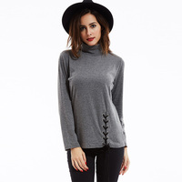 Young17 Women Blouses Spring Fall Gray Coffee Casual Elegant Loose Plain Shirt Autumn Long Sleeve 2018