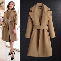 cashmere coat Female star with classic long camel cloth Woolen coat