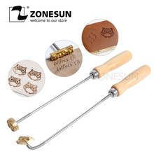 ZONESUN Cake logo with 3cm Brand Handle for Burning Mold Stamp on Cookie Sweets,Iron Brass Mold Burning Handle,Custom Design