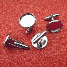 Пустые запонки основания 10 мм круглая вставка кабошон латунные французские запонки настройки ювелирных изделий серебряные тона оптом