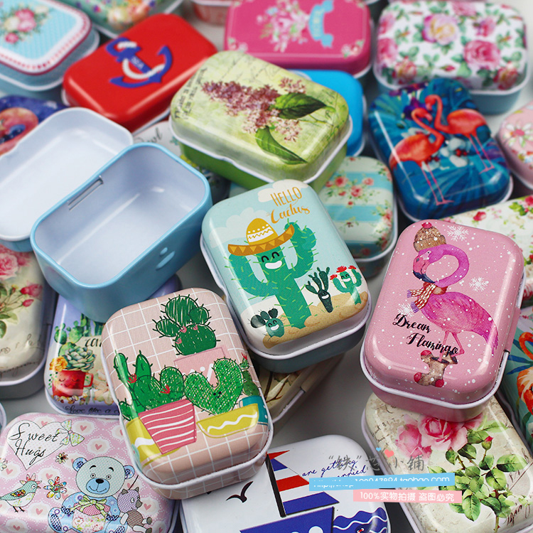Small Storage Boxes Earring Jewelry Sealed-Jar Tin-Box Cans Coin Colorful Mini 1pc R1041