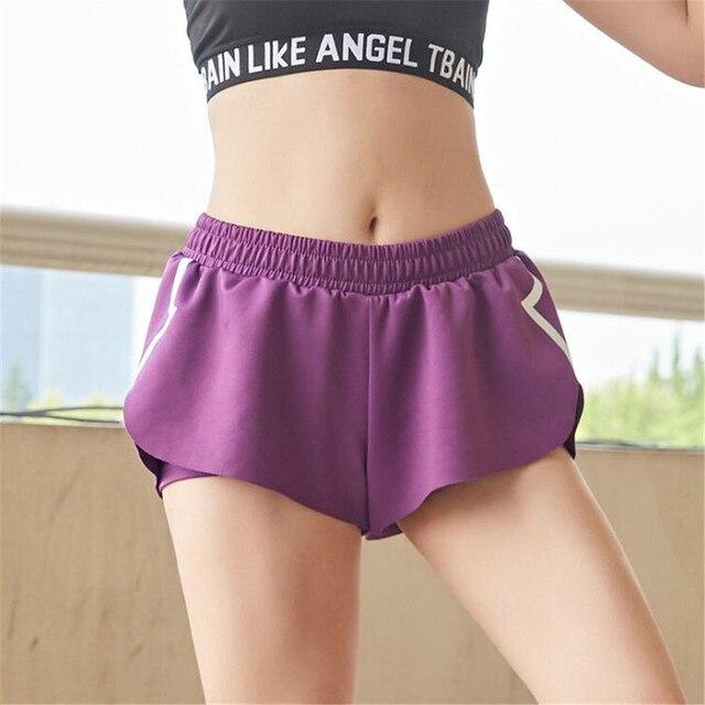 shorts women Double-deck Lotus leaf edge Tightness Frenulum motion Ventilation Quick drying Run short feminino spodenki damskie