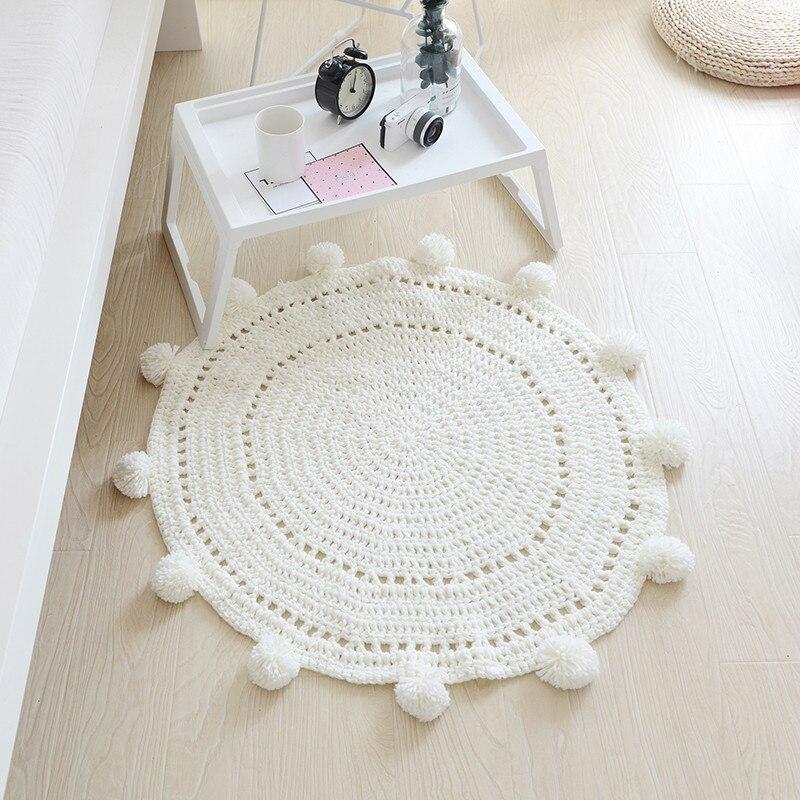 Tapis rond fait à la main solide tricoté pompon balle tapis pour enfants jouer blanc gris bleu rose tapis de zone 80x80 cm chambre de bébé salon