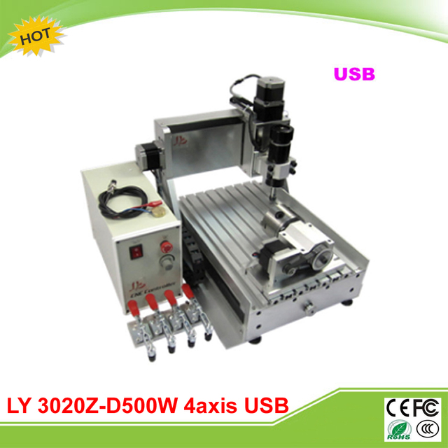 Ly 3020z D500w Usb 4 Axis Cnc Carving Machine Grinder With Ball 500w Spindle