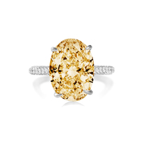 COLORFISH 5ct Solid 925 Sterling Silver Oval Solitaire Engagement Ring Women Wedding Jewelry Egg Shape Yellow Stone CZ Rings