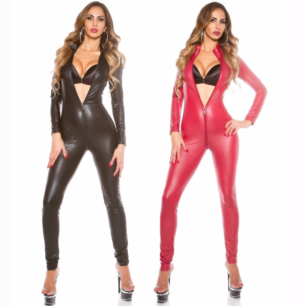 2017 Sexy Jumpsuit For Women's Vinyl CatsuitLatex Faux Leather Bodysuit Zipper Open Crotch PVC Leotard red black