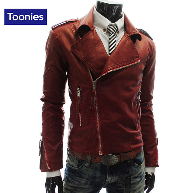 Winter Fashion Zipper Collar PU Coats 2016 Short Imitation Leather Jackets Outwear Coats Punk Style Motorcycle Fit Male Overcoat
