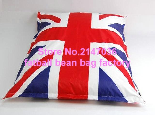 Union Jack Large Bean Bag Chair, BIG CUSHION, UK FLAG Printed Adult  Portable Bean