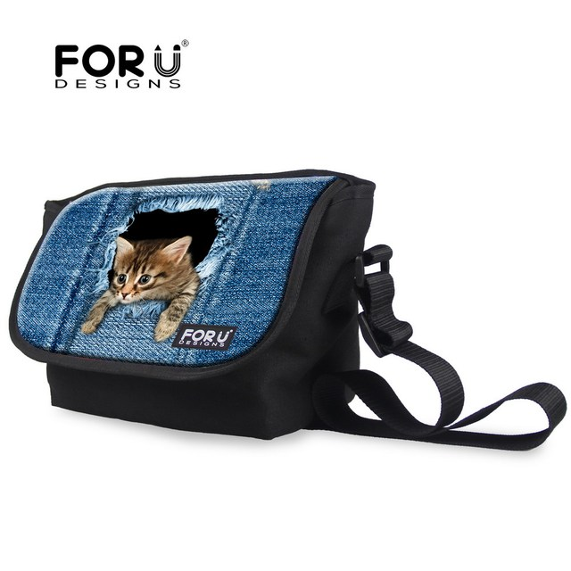 Forudesigns Cute Animal Denim Cat Dog Messenger Bags For Women Designer Children S Crossbody High
