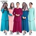 LURRSN Marca Musulmana Vestidos Largos Robe 2017 Elegante Abaya Abaya Del Vestido de Falso Dos Piezas Vestido de Las Mujeres de Malasia para el Diseñador de la Noche de