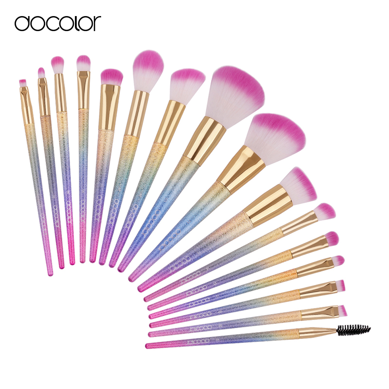 Docolor new pro 16pcs cosmetic makeup brushes set blush powder foundation eyeshadow eyeliner lip make up