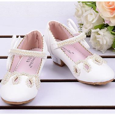 qloblo pink white 2018 new children girls princess shoes five-pointed star pearl rhinestone beaded anklet kids wedding shoes