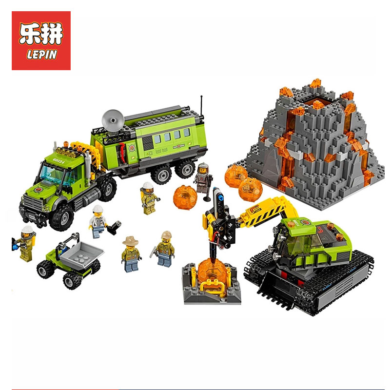 New LEPIN 02005 City series Volcanic expedition base Model Building blocks Bricks Compatible Toy for children LegoINGlys 60124 a toy a dream lepin 15008 2462pcs city street creator green grocer model building kits blocks bricks compatible 10185