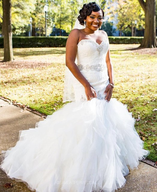 2017 Wedding Dress Mermaid Tulle African Black Women Wedding Dress ...