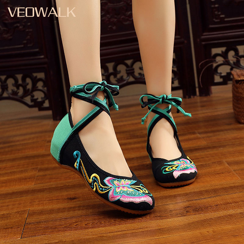 Veowalk Chinese Vintage Old Peking Cloth Shoes Ladies Lace-Up Swallowtail Butterfly Embroidery Comfortable Casual Dancing Shoes