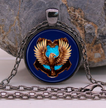 Slytherin Pendant Necklace Glass Cabochon Vintage Jewelry Bronze Chain Necklace For Women