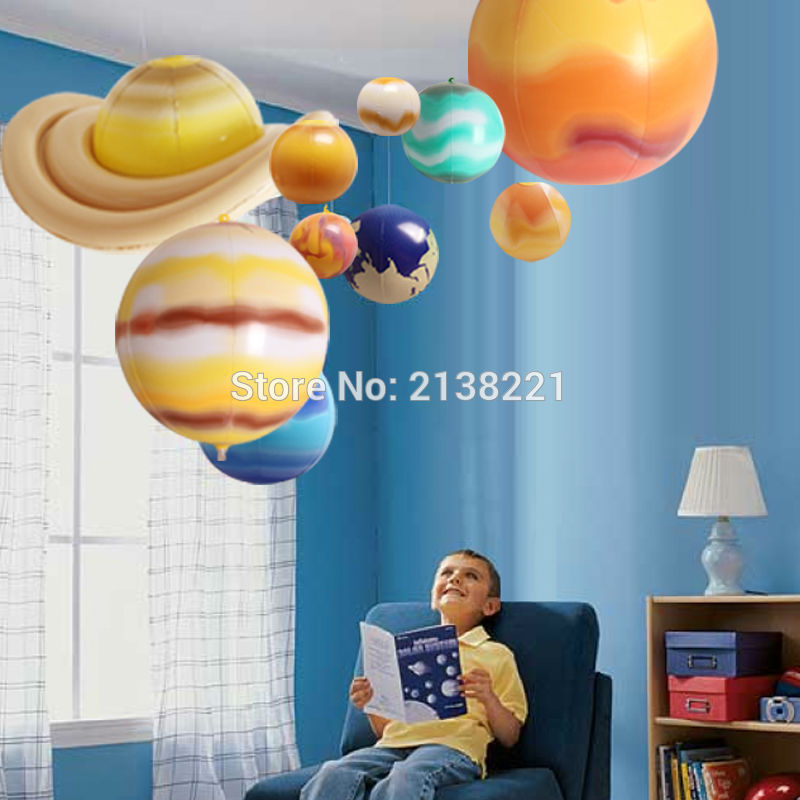 10 stykker / sæt Solar Galaxy Undervisningsmodel Balloner Charm Simulering Ni Planeter I Solsystem Børn Sprænge Oppustelig Legetøj