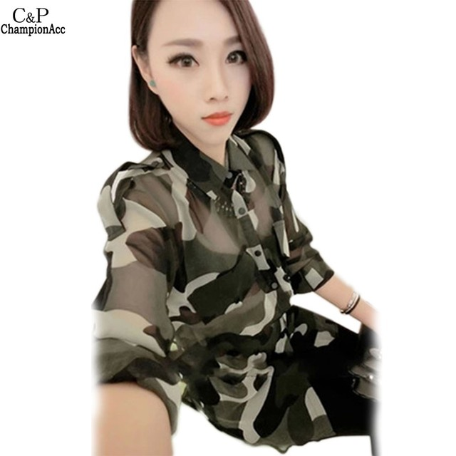 FANALA Blusa Feminino 2016 Spring Vintage Camouflage  Blouse Long Sleeve Shirt Women Tops Tees Chemise Femme