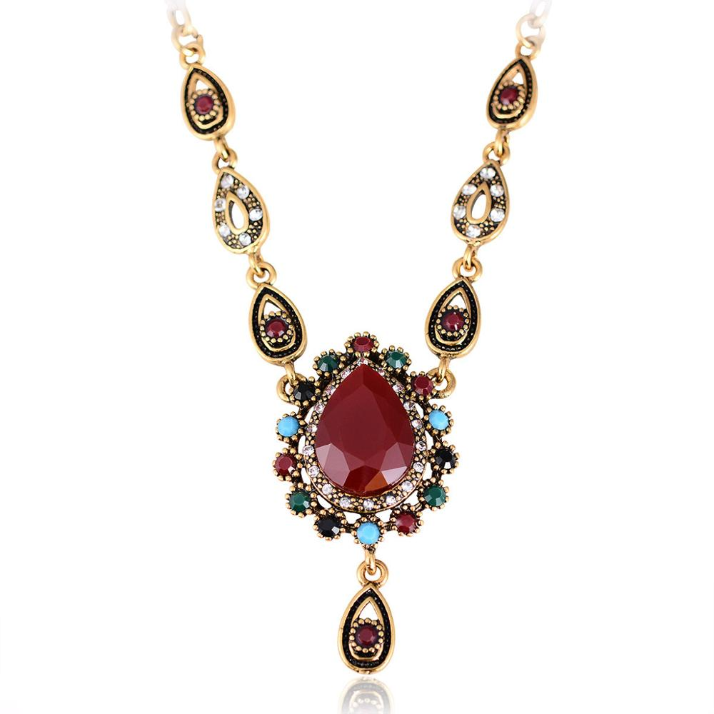 2018 new fashion antique gold vintage ethnic necklaces for women 2018 new fashion antique gold vintage ethnic necklaces for women turkish jewelry water drop resin crystal pendants necklace in pendant necklaces from aloadofball Image collections