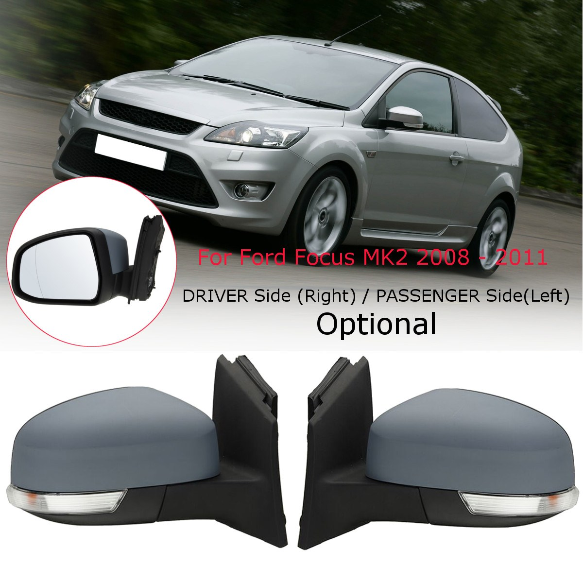 Car Door Electric Wing Mirror Driver /Passenger Side For Ford for Focus MK2 2008 2009 2010 2011 дефлектор капота novline темный ford focus 2008 2010 nld sfofo30812