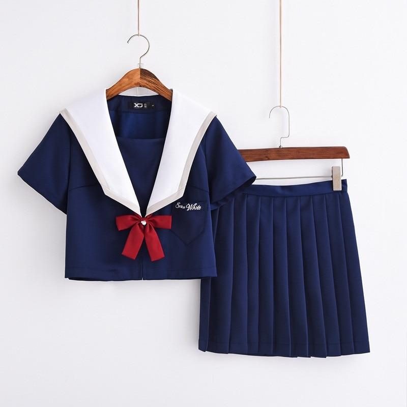 Dark Blue High Quality Short Sleeve Anime Cosplay Uniforms Lovely Teenage Girls School Uniform