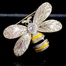 Vintage Gold Bug Insect Bee Brooch Pins Yellow Bumble Crystal Broach Pin Jewellery Gift DIY Craft Embellishment Brooches
