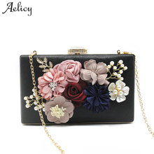 9d250c26f2 Aelicy 2018 New Design Women s Flower Clutches Evening Bags PU Leather  Ladies Floral Handbag Shoulder Bag