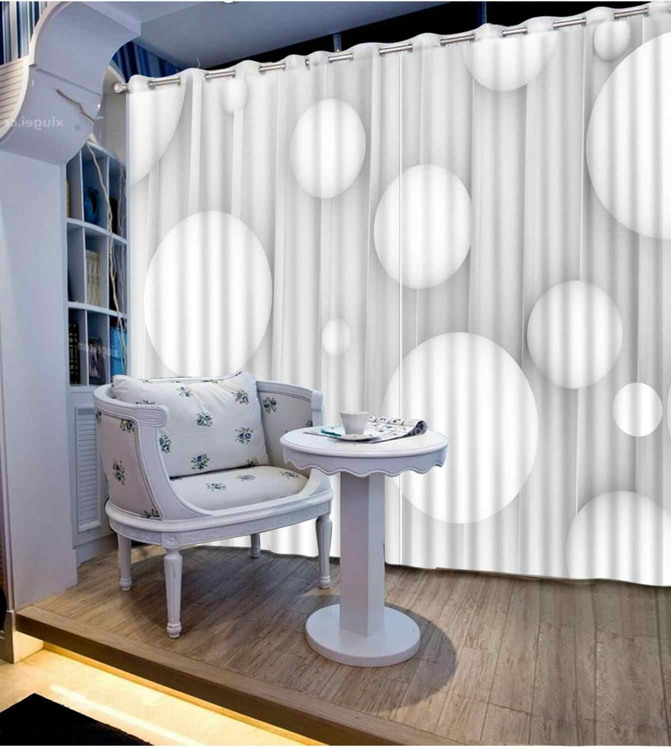 3d curtains window curtains for living room Creative stereo ball Height Modern Curtains