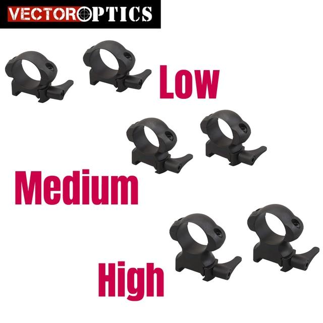 Vector Optics Low Medium High Profile Quick Detach QD 25.4mm 1 Inch Steel Scope Mount Rings with Lever