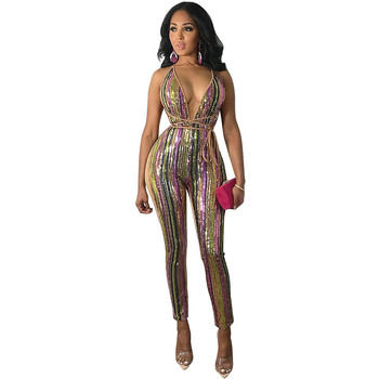 Mirsicas Colorful Stripe Sequins Bandage Jumpsuit Sexy Deep V Neck Spaghetti Straps Night Club Party Outfits