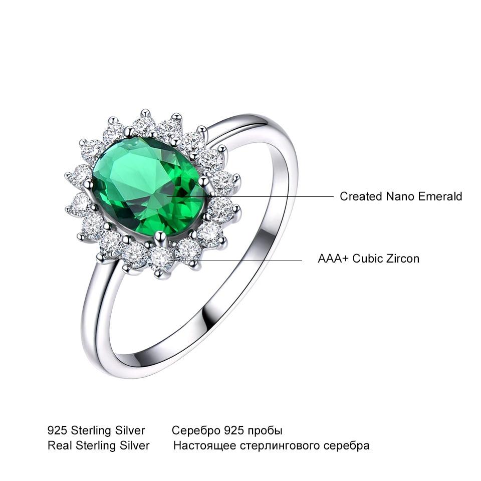 UMCHO Emerald Gemstone Rings Untuk Wanita Putri Diana Cincin Padat - Perhiasan bagus - Foto 5