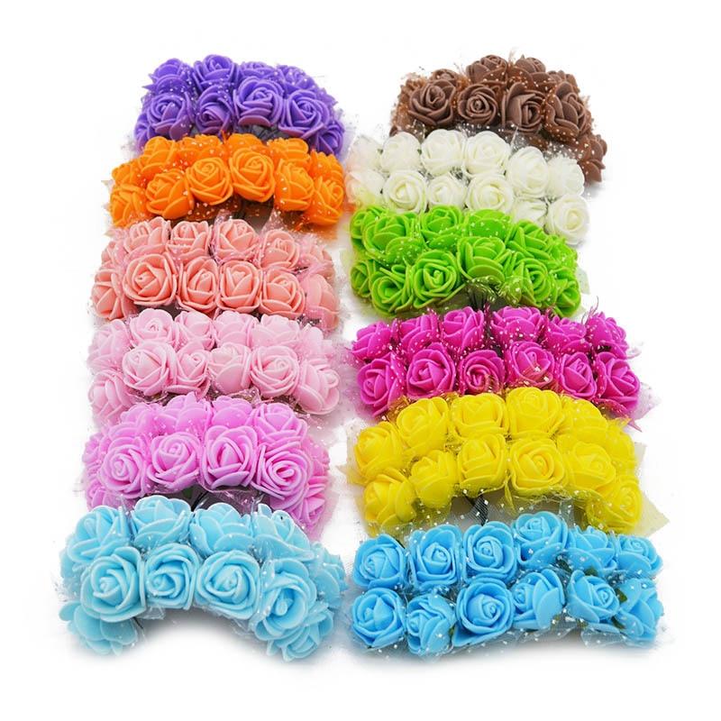 144 шт. см 2 см многоцветный ПЭ пены розы маленький искусственный цветок букет для вечерние декоративные венок ремесла свадебные украшения