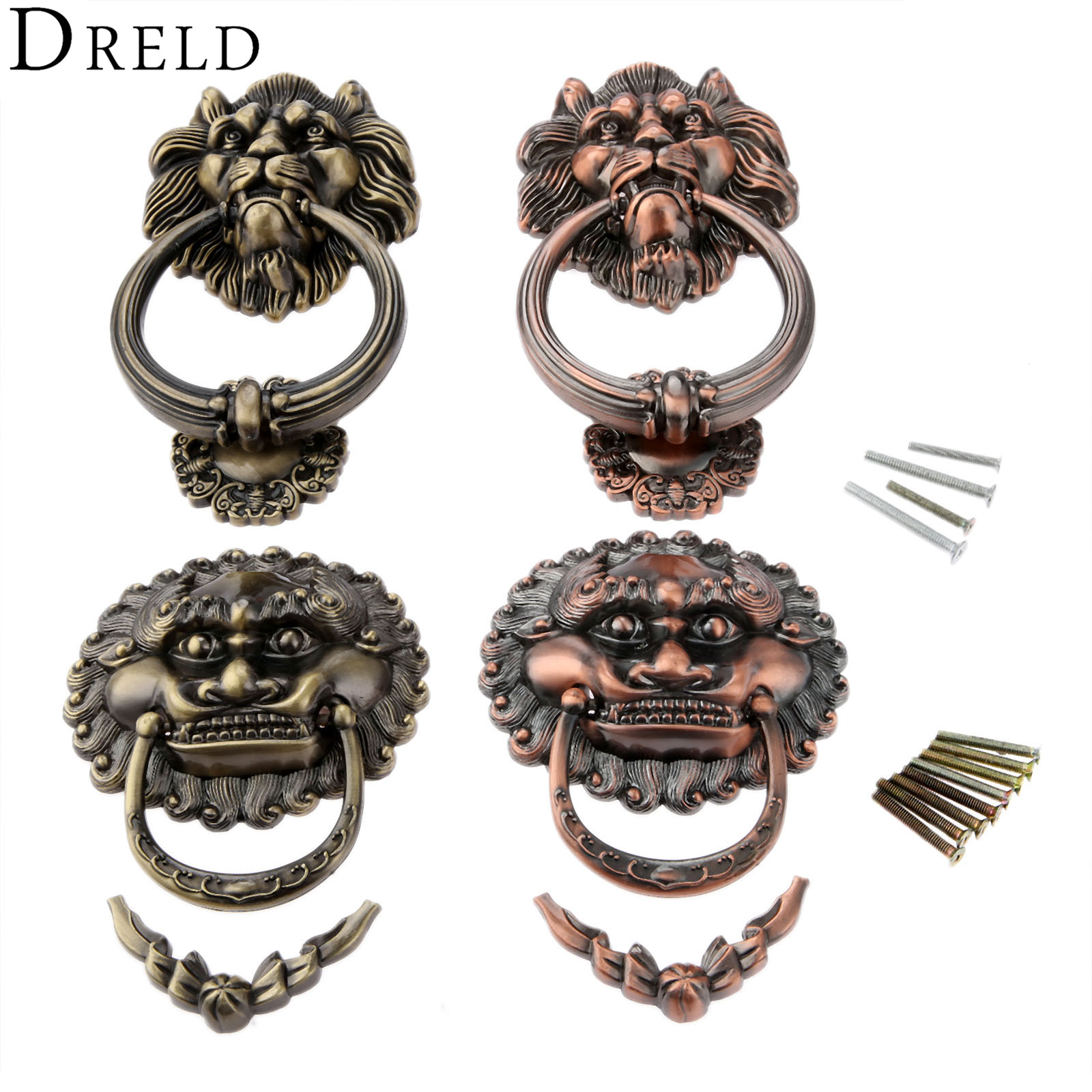 DRELD Antique Furniture Handles Vintage Lion Head Drawer Cabinet Knobs and Handles Doorknockers Rings Pulls Furniture HardwareDRELD Antique Furniture Handles Vintage Lion Head Drawer Cabinet Knobs and Handles Doorknockers Rings Pulls Furniture Hardware