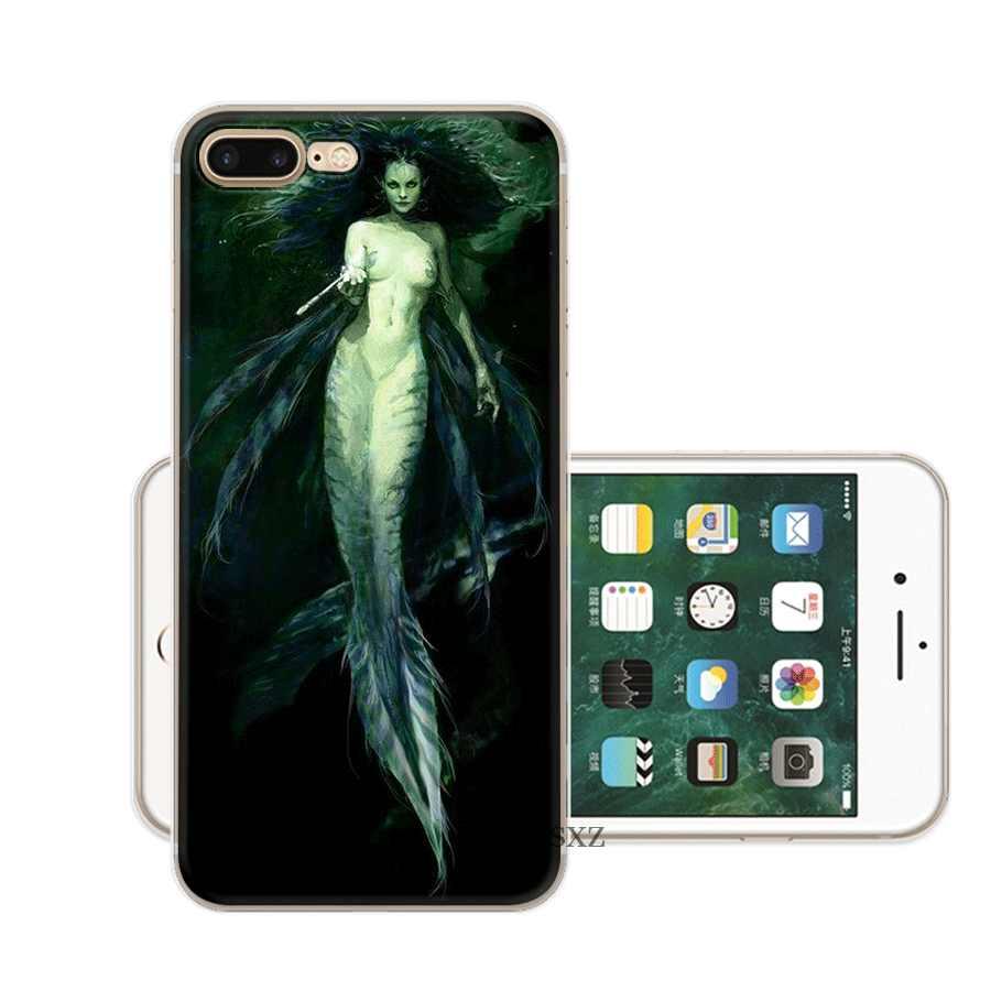 حورية البحر حقيبة هاتف محمول ل فون 7 8 6 6s زائد فون 11 برو X XS ماكس XR 5 5S SE غطاء