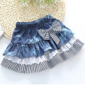 Wholesale Stripe Girls Denim Skirts 2016 New Bowknot  Lace Baby Fashion Children Clothing Flower Kids Skirt