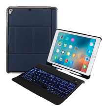 10 шт., 9,7 дюймов, планшет, Bluetooth, светодиодный, подсветка, испанская клавиатура со слотом для ручки, кожаный чехол, подставка для планшета, для iPad Air 1 2 Pro
